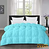 The OutNeT Aqua Luxurious Pin Tuck-Pinch Pleat Comforter- King Size 102 x 90 Inches 3 Piece All-Season Duvet Insert, 500 GSM with Corner Tabs 100% Egyptian Cotton- Hypoallergenic- Hotel Collection