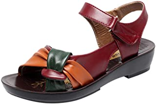 Women Summer Big Size Shoes Fashion Leather Knot Comfort Wedges Sandals