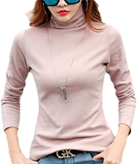 flywinner Women's Blouse Top Long Sleeve Casual Turtleneck Solid Color T-shirts
