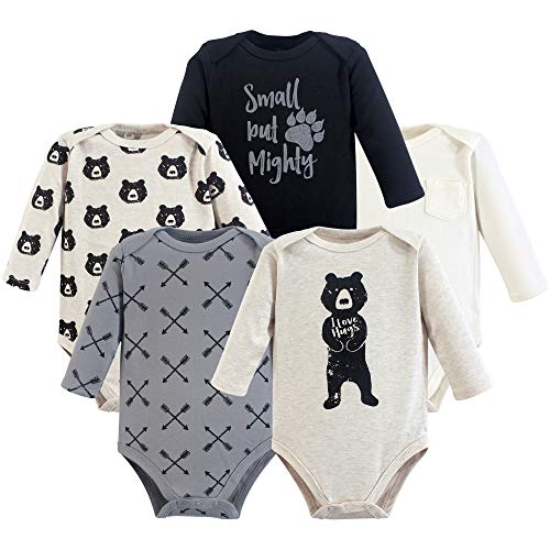 Yoga Sprout Unisex Baby Cotton Bodysuits, Bear Hugs Long-Sleeve, 3-6 Months
