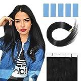 18'Tape Extensions Echthaar,Tape Hair in ExtensionsReal Remy Echthaarverlängerung 40 Stück 100g Schuss mit gerader Haut nahtlos mit 60 vorgeschnittenen Doppelbändern (18' schwarz)
