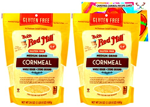 Gluten Free Cornmeal Bundle. Includes Two (2) 24oz Packages of Bob's Red Mill Gluten Free Medium Grind Cornmeal and an Authentic Carefree Caribou Cornmeal Cookie Recipe Card!