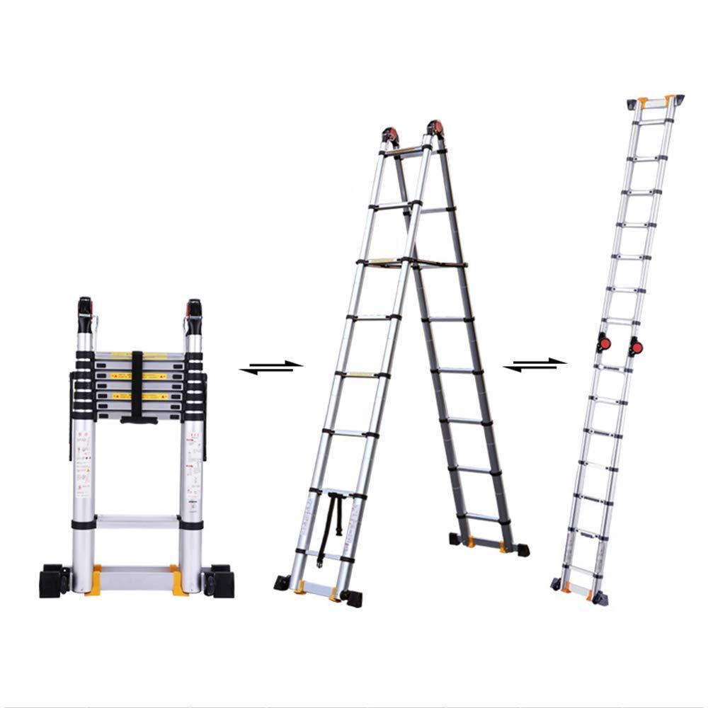 KEWEI Estante Escalera Telescópica de Aluminio de 2.9M / 9.5Ft, Escalera con Marco A Multiusos / 7 Pasos/Soporte de Carga 150Kg: Amazon.es: Hogar