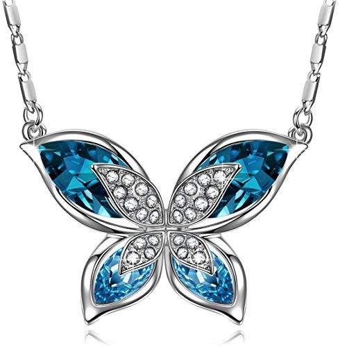 J.RENEÉ Mariposa Colgante Mujer, con Cristal Azul de Swarovski, Collares Mujer, Regalos Mujer