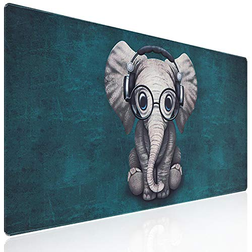 Anyshock Desk Mat, Extended Gaming Mouse Pad Large 31.5' x 15.7' XL Keyboard pad with Stitched Edges Non Slip Base, Water-Resistant Computer Laptop Desk Pad for Office and Home (Cute Music Elephant)