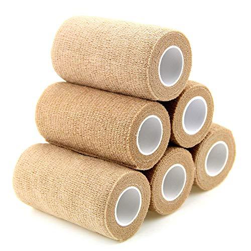 6 Rollos Venda Elástica, 10 cm x 4.5 m Venda Cohesiva, Venda Cohesiva Color DE Piel, Primeros Auxilios, Deportes, Protección Contra Esguinces e Hinchazón