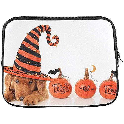 Schattige Puppy het dragen van een Halloween Heks Hoed Mouw Zachte Laptop Case Bag Pouch