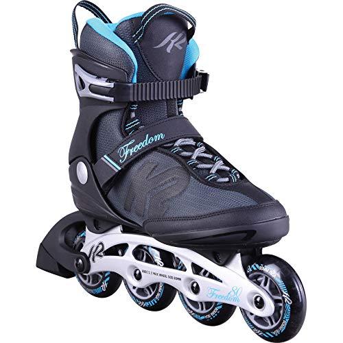 K2 Inline Skates FREEDOM W Für Damen Mit K2 Softboot, Black - Light Blue, 30D0251