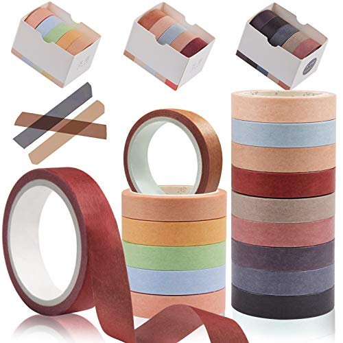Kalolary - Set di 15 rotoli di nastro adesivo Washi naturale, per decorazioni fai da te, per scrapbooking, decorazioni e feste, 15 colori, 10 mm x 5 m