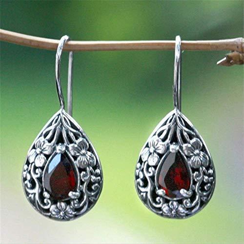 Conjuntos de pendientes para mujer Pendientes de aros para mujeres Pendientes de pera gota de agua Pendientes de granate de piedras preciosas rojas talladas