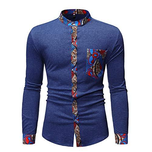 Camisa de Cuello Alto para Hombre con Costuras de Bloqueo de Color Camisa de Manga Larga Transpirable de Corte Ajustado Camisa Informal de Estilo Retro Medium