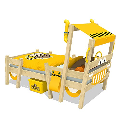 WICKEY Lit enfant 'Crazy Sparky Pro' jaune Lit pour enfant design pelleteuse - Lit simple en bois massif - 90x200 cm