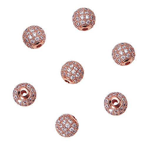 NBEADS 10 Pcs 8mm Rose Gold Cubic Zirconia Brass Beads, Brass Clear Crystal CZ Stones Pave Micro Setting Disco Ball Spacer Beads Round Charms Beads for Jewelry Making