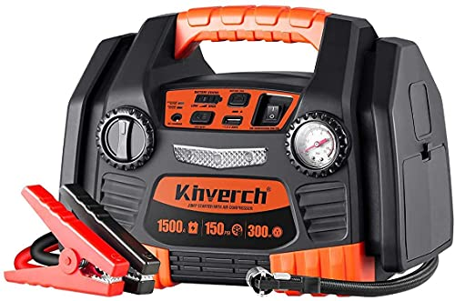 kinverch Battery Jump Starter 1500 Peak/750 Instant Amps Portable Power Station with 300W Inverter,150 PSI Air Compressor