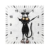 ISAOA Reloj de pared cuadrado silencioso, sin garrapatas, diseño de gato caricatura, decoración artística para el comedor, sala de estar, dormitorio, oficina, escuela