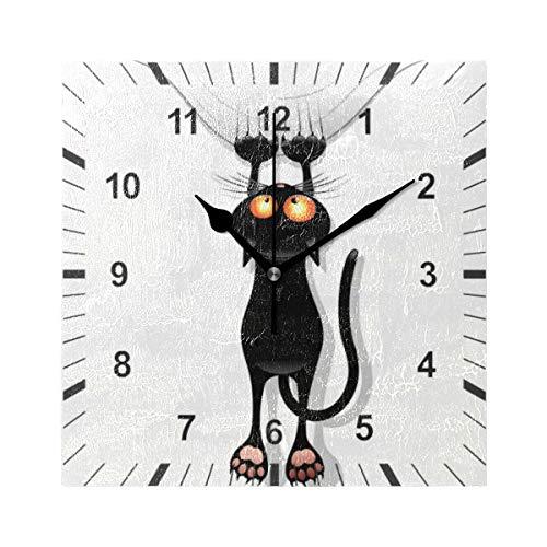 ISAOA Orologio da parete quadrato, silenzioso, a forma di gatto, con motivo a cartoni animati, decorazione artistica per sala da pranzo, soggiorno, camera da letto, ufficio, scuola