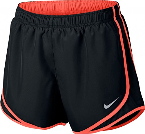 Nike W nk Dry Tempo Short, Damen S Schwarz (schwarz/weiß/Sport rot/Wolfgrau)