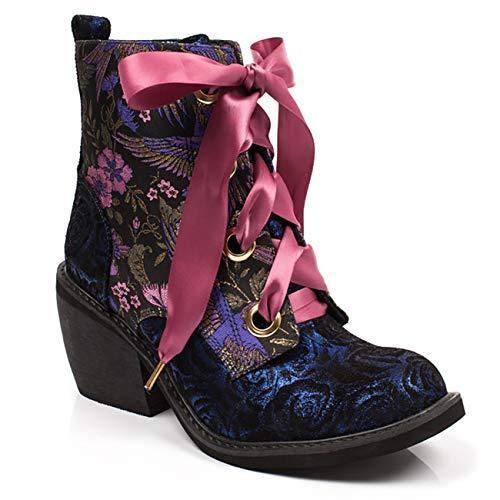 Dames Onregelmatige keuze Quick Getaway Metallic bloemen enkellaarsjes - Blauw - 6.5