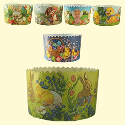 Slco 5er Set Backform aus Papier für Kinder *Panettone* Ostern Kuchen Motiv D-11cm