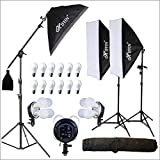HIFFIN® PRO Quadlux Mark II Soft Led Still & Video Light Softbox 3 Point Lighting Kit with AC...
