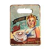 DiiliHiiri Tabla de Cortar Decorada Vintage, Tabla de Cortar Carne, Verduras, Tabla para Picar de diseño Retro para la Cocina y hogar (Coffee)