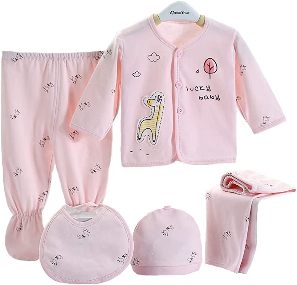 Infant Baby Boy Girl Clothes Outfits, 5Pcs Sleepwear Set Long Sleeve Tops+Hat+2Pcs Pants+Bib Clothes Set Gift for 0-3 Months Newborn