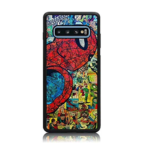 Galaxy S10 Case, Spider Man Comic Collage Print Soft TPU + Hard Back Shock Absorption Protective Case Cover for Samsung Galaxy S10