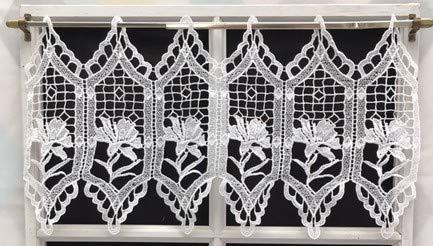 Cortina de macramé de aprox. 31 cm, color blanco con diseño de...