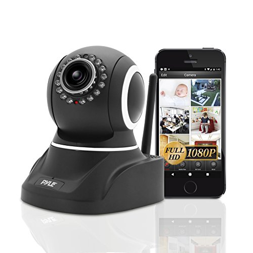 indoor camera for androids Pyle Indoor Wireless IP Camera - HD 1080p Network Security Surveillance Home Monitor System - Motion Detection, Night Vision, PTZ, 2 Way Audio, iPhone Android Mobile App - PC WiFi Access - PIPCAMHD82 (Black)