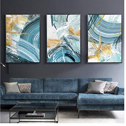 FRTTCYO Poster Moderne abstrakte Leinwand Malerei Poster und Druck für Wohnzimmer Blue Bedroom Home Decor Bild Große Wandkunst Golden Unframed -50x70cmx3 No Frame