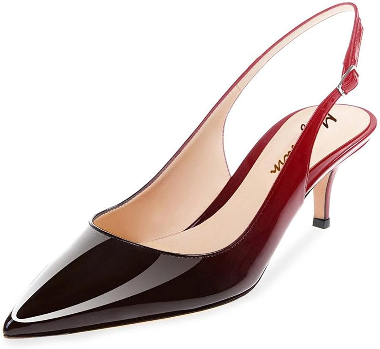 Maguidern Patent Leather Slingback Pumps, Women's Pointed Toe Slingbacks Buckle Ankle Strap Low Heel shoes red Black Size 13