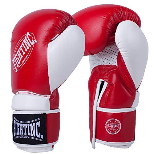 Fightinc. Boxhandschuhe Fighter - 8 10 12 14 16 Oz Männer Frauen für Boxen Kickboxen Muay Thai MMA Kampfsport schwarz weiß rot UVM rot (600) 14 Oz