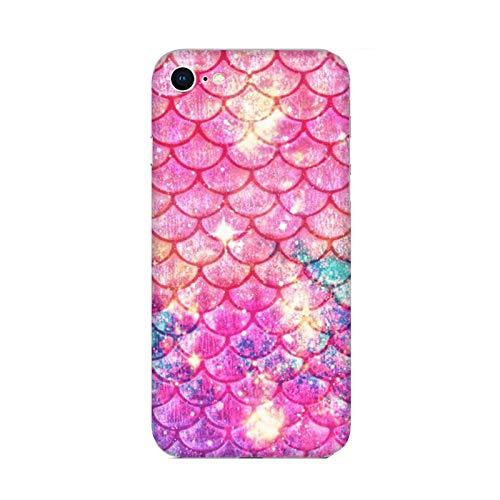 Funda iPhone 6 Carcasa Apple iPhone 6 Cola de Sirena Copos de Color Rosa/Cubierta Imprimir también en los Lados/Cover Antideslizante Antideslizante Antiarañazos Resistente a Golpes Protectora R�