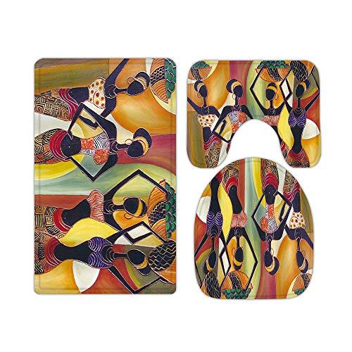 Juego de 3 alfombras y alfombrillas de baño de espuma viscoelástica para mujer, diseño de Afroígenes egipcios, con forma de U, antideslizante, absorbente, de terciopelo lavable