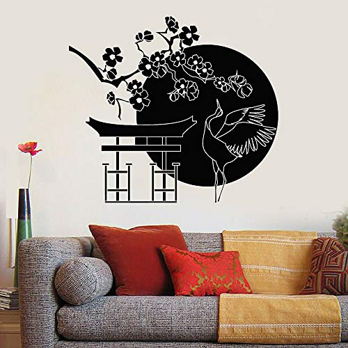 Bloem boomtak muur sticker Japanse vogel ooievaar kunst deuren en ramen vinyl sticker woonkamer Japans restaurant interieur 50,4 x 56,4 cm