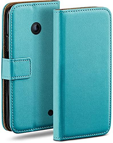moex Klapphülle kompatibel mit Nokia Lumia 630/635 Hülle klappbar, Handyhülle mit Kartenfach, 360 Grad Flip Hülle, Vegan Leder Handytasche, Türkis