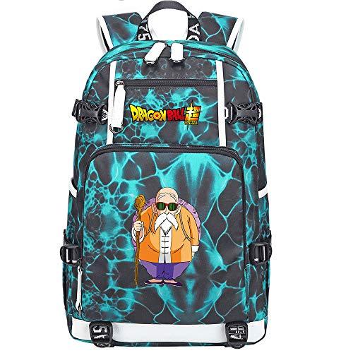 ZZGOO-LL Dragon Ball Son Goku/Vegeta IV/Master Roshi Anime Cosplay Bookbag College Bag Backpack School Bag with USB Charging Port-G