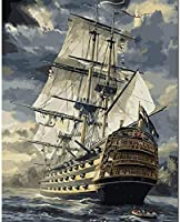 DMFNGJSD 数字油絵 フレームレス 、数字キット塗り絵 手塗り DIY絵-海のボートの風景-デジタル油絵 40x50 cm