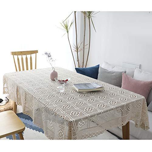 Scelet Mantel de Ganchillo Mantel de Encaje Rectangular Hecho a Mano Polvo de Piano Muebles Mantel de algodón
