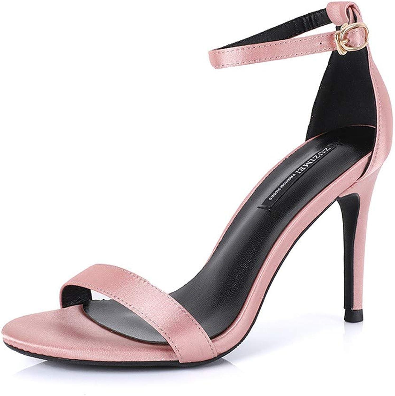 Top Shishang Women's Peep Toe Heeled Sandals Slingback High Heel Stiletto Pumps Pink