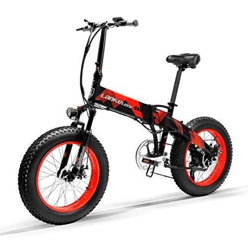 LANKELEISI X2000 20 x 4,0 Pouces Gros Pneu 48V 1000W 12.8AH Fat Tire Cadre en Alliage d'aluminium Tire vélo électrique Pliable pour Adulte Femme/Homme pour Montagne/Plage/Neige E-Bike (Rouge)