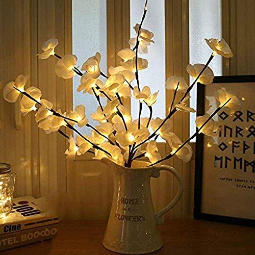 Winnes LED Zweig Lampe, 20 LEDs dekorative Lichterkette Licht Batterie aufgeladen für Home Room Decoration Weihnachtstag (Weiß 2 Stück)