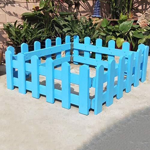 JIANFEI-Valla de jardín Valla De Madera Borde De La Cama De Flores Planta De Barandilla Resistente A La Corrosión Bisagra De Metal, 4 Tallas 4 Colores (Color : Blue, Size : 50x20cm)