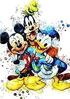 ウォールアート水彩画ポスタープリントミッキーマウスドナルドダックミッキーグーフィードナルド漫画のキャラクターサイズ(30 cm x 43 cm 12インチx 17インチ)