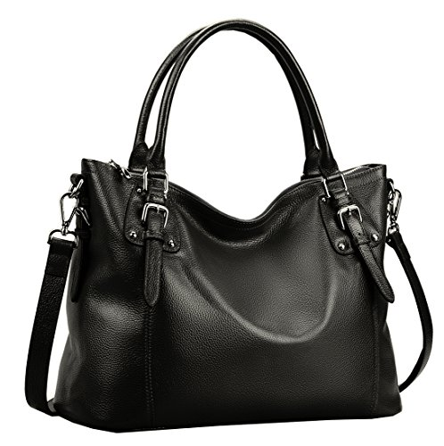Heshe Women's Leather Handbags Shoulder Tote Bag Top Handle Bags Satchel Designer Ladies Purses Cross-body Bag (Large,Black)