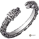 Viking Bracelet - Nordic Metal Arm Ring with Odin's Ravens - Norse Jewelry for Men Women - Scandinavian Design