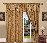 Elegance LinenLuxury Design Jacquard Curtain Panel Set with Attached Valance 55' X 84 inch (Set of 2), Gold
