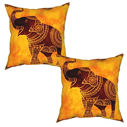 Gggo 2 Piezas Fundas de Cojines Elefante Indio Baila Ideal Origen étnico Tatuajes Yoga Africano Indio tailandés Suave Almohada Decorativo para Habitacion Sofá Dormitorio Oficina Sala-50x50cm