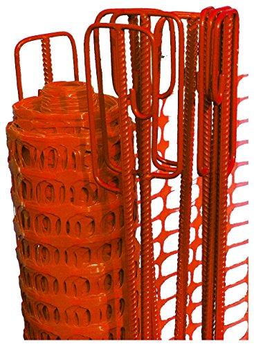 UvV Basic Baustellenabsperrung, Bauzaun als Rolle - Set 50m 4 kg Fangzaun orange inkl. 10 Absperrleinenhalter rot, Absperrnetz, Maschenzaun, Bauzaun Rolle Kunststoff
