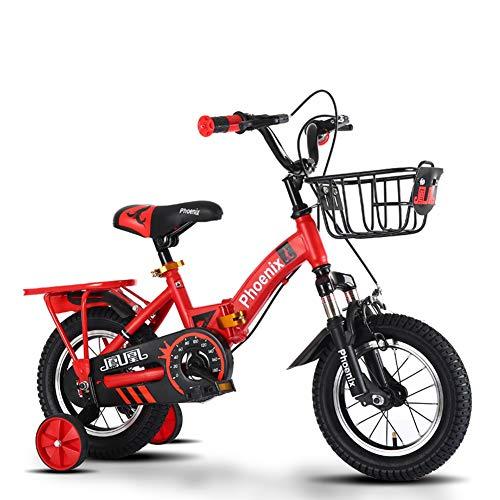FYLY-Bicicleta Infantil para Niños y Niñas de 3-7 Años, 14' Frenos de Doble Disco Plegable Bicicleta con Cesta y Ruedines de Entrenamiento, para Niño Alto de 95-115cm,Rojo